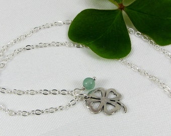 Sterling Silver Shamrock and Green Aventurine Pendant Necklace