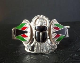 Egyptian Silver Scarab Bracelet with Enamel.