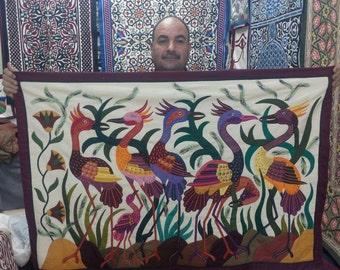 Tarek al Safty, Unique Crane Tentmakers Master Piece stitched on Canvas w multi colors!