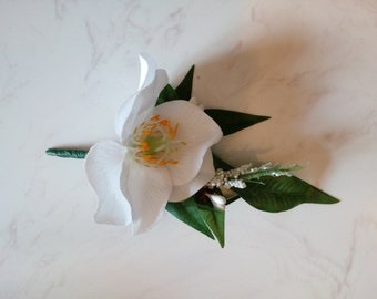 White Christmas rose boutonniere corsage