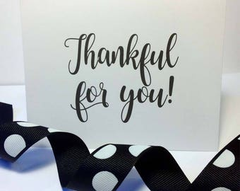 Thankful for You Note Cards // Blank Thank You Notes // Grateful Gratitude Notes // Thanksgiving Stationery