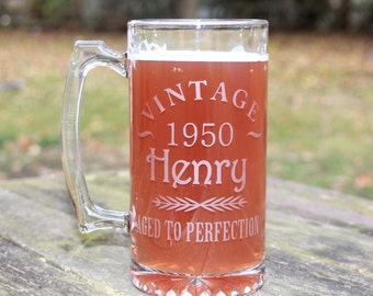 27.25 Oz. Personalized Etched Glass Beer Mug