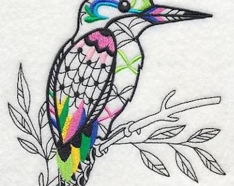 Blackwork Style Kingfisher Embroidered Flour Sack Hand/Dish Towel