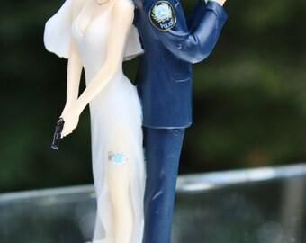 Police Officer Bride Groom Guns Wedding Cake Topper law enforcement classic garter  YOUR Dept Patch