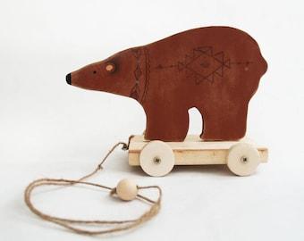 Prairie Bear Pull Toy - waldorf toys, natural wood toys, boho toys, whimiscal toys, bohemian nursery, home decor, wood toys, wooden bear,