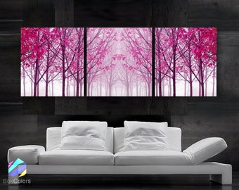 """LARGE 20""""x 60"""" 3 panels Art Canvas Print Trees Maple Pink Wall (Included framed 1.5"""" depth)"""