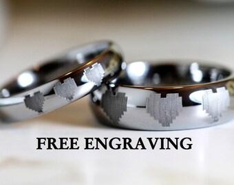 Tungsten Wedding Ring/Band 4MM or 6MM Dome Legend of Zelda Inspired 8-Bit Heart Design