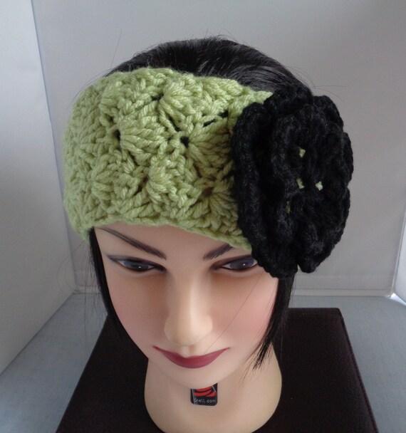 Crochet oreja caliente con calentador vincha negra adorno flor