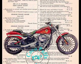 2017 Red Breakout HD Motorcycle Art Beautifully Upcycled Vintage Dictionary Page Book Art Print Drawing