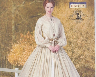 Butterick 5831 Misses Women's Victorian Civil War Dress and Petticoat UNCUT Sewing Pattern