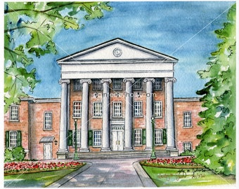 Ole Miss Lyceum Art Print // The University of Mississippi Graduation Gift // Ole Miss Rebels Artwork // Rebs Watercolor Painting