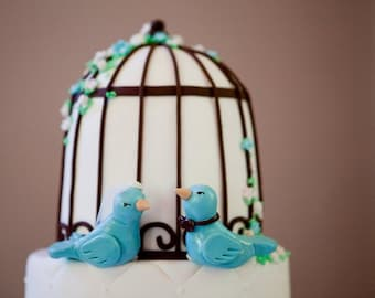Custom Wedding Bird Cake Topper - Love Birds - Custom Choice of Colors