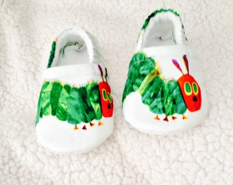 Baby Booties with Caterpillar print ( prints may vary), Baby booties, Crib Shoes, Baby Gift