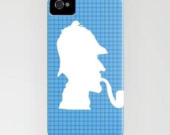 Sherlock Holmes on Phone Case - blue pattern, Holmes,  Samsung Galaxy S6 Edge, iPhone 6S, iPhone 6 Plus, Samsung Galaxy S7, Gifts, iPhone 8