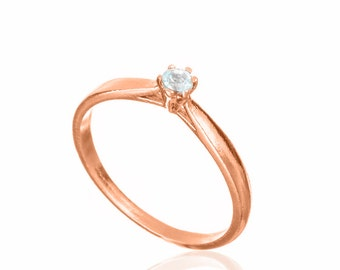 Classic Rose Gold Solitaire Engagement Ring , 14k Rose Gold Engagement Ring , Rose Gold and Diamond Solitaire Ring