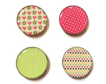 Refrigerator magnets, heart magnet, stripe magnet, polka dot magnet, office magnets, fridge magnets