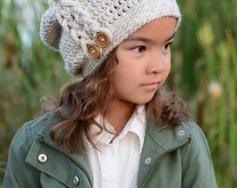 CROCHET PATTERN - Buttons & Braids Slouchy - crochet slouchy hat pattern w/ side braid (Toddler, Child, Adult sizes) - Instant PDF Download