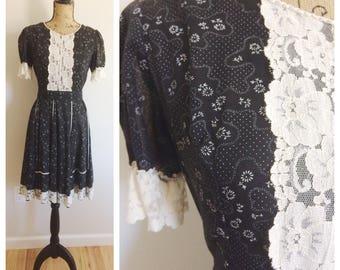 60s Kate Schorner Prairie Calico Lace Dress