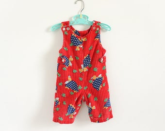 """Vintage 1960s 70s Baby Size 6-9M Overalls, Red Corduroy Turtles in Neckties and Chicks Novelty Print, b21"""" inseam 6"""" L21.5"""