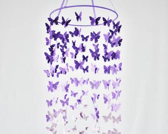 Ombre mobile Butterfly mobile Butterfly nursery decor Living room decor Teal wall hanging Purple nursery decor Ombre bedroom art