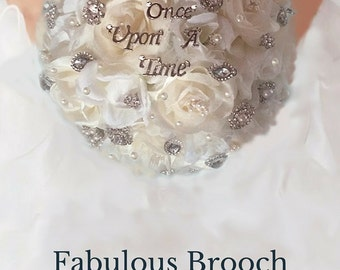 Cinderella Wedding Bouquet, Brooch Bouquet, Fairy Tale Wedding Bouquet, Fantasy Wedding, Full Price 150 & up, Rush Orders Welcome