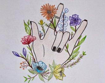 "pencil drawing print ""I love you"""