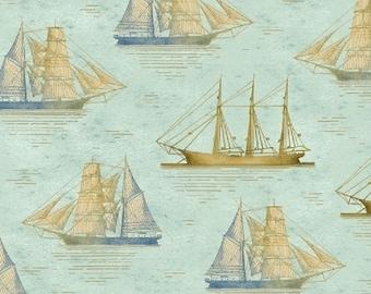 Tall Ships - Nautical  Light Blue and Tan Ship Sailboat fabric - by the half yard - Windham Fabrics - 100% cotton