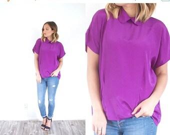 15% OFF MEMORIAL DAY sale Purple blouse // collared blouse // bright purple loose slouchy fit blouse // Boho blouse top purple // boho summe