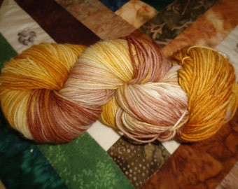 Caramel Latte Hand Painted Fingering/Sock Wt. SW Wool/nylon Yarn