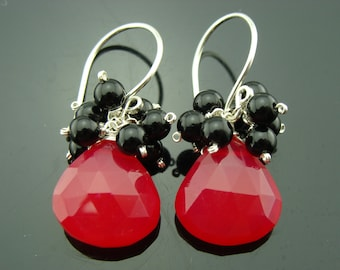 Hot Pink Chalcedony and Black Onyx 925 Sterling Silver Cluster Earrings