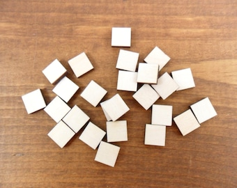 """Stud Earring Wood Squares Blanks Shapes 1/2"""" (12mm) x 1/8"""" (3.175mm) Thick Wood Jewelry Shapes - 25 Pieces"""