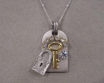 Steampunk necklace Whimsical Skeleton key necklace padlock keyhole necklace rhinestones Boho