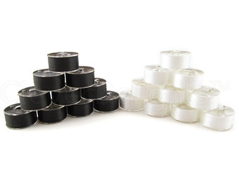 36 Size A Black and White Combo Prewound Bobbins - SA156 Replacement Bobbins - Class 15 - For Brother Machines - See Compatibility List