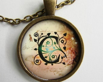 """Initial """"C"""" Necklace -- Green Vine pattern Personalized Letter C Necklace, Wedding Necklace, for Bridesmaid, Hen Night, Friendship token"""