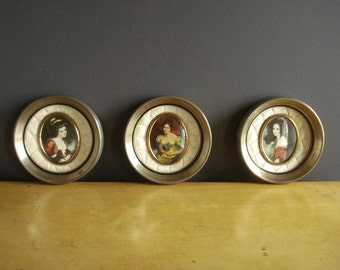 Famous Ladies - Three Small Round Vintage Frames - Vintage Victorian Prints