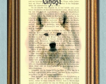 Game of Thrones -GHOST, Jon Snow's Direwolf -Dictionary art-Vintage book page print recycled -
