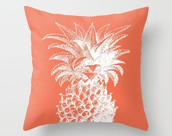 Pineapple Pillow with insert  - Coral pillow with insert - Modern Home Decor -