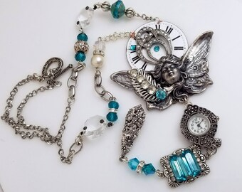 Pewter Angel Necklace, Clock Face and Watch, Turquoise Rhinestones, Large Dangle Pendant VN153