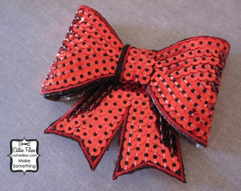 Red Sequin Puffy Bow Applique - Millinery, Altered Couture, Hair Flowers, Scrapbooking, Hair Bows, Embellishment