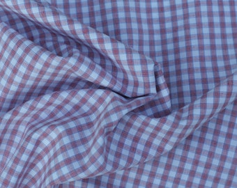 Red and  Blue Plaid Pima Cotton Fabric, 1 Yard