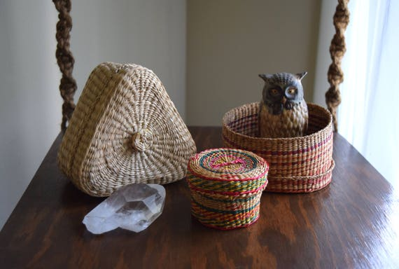 Three Vintage Woven Nesting Baskets w/ Lids - Gift Boxes, Natural Decor, Folk, Eclectic