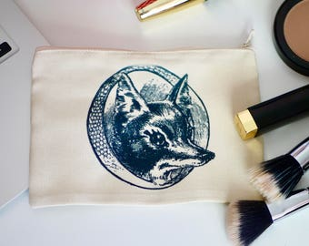 Vintage Fox Small Make - Up Bag - Cosmetic Bag - Zipper Pouch