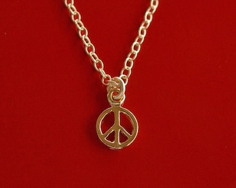 Tiny Peace Necklace on 14kt Gold FIlled Chain