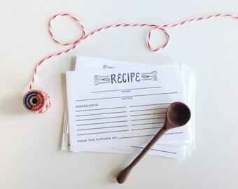 Utensils Recipe Cards - Letterpress Printed