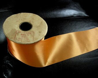 Vintage Halloween Orange Ribbon On Original Core, Says 50 Yards On Label