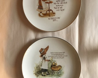1970's Holly Hobbie Commemorative Edition Porcelain Mother's Day Plates