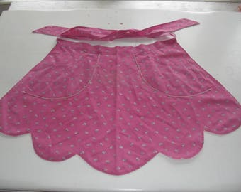 Vintage Pink Calico Half Apron Hand Made