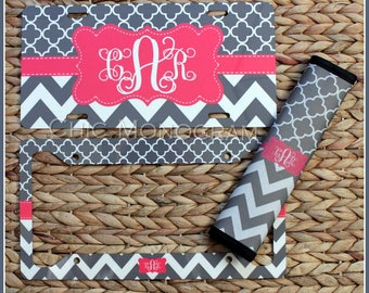 License Plate & License Plate Frame + Seat Belt Cover Car Accessories Monogrammed Gifts Custom Monogram Personalized Cute Car Accessories
