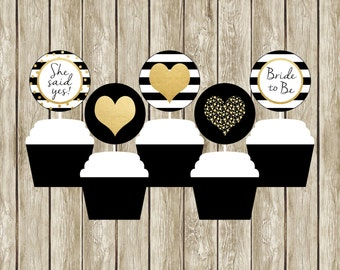 Black White and Gold Cupcake Toppers, Black White and Gold Bridal Shower, Bridal Shower Cupcake Toppers, Black and Gold Cupcake Toppers, 003