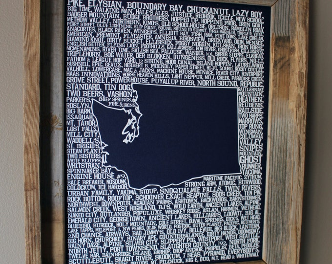 Beers of Washington Word Map (Dark Blue) - Unframed